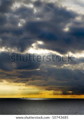 a dramatic scenery of a stormy sky in Sweden,