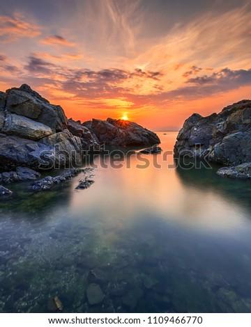 A Dramatic Sunset in Dadaepo Beach, South Korea