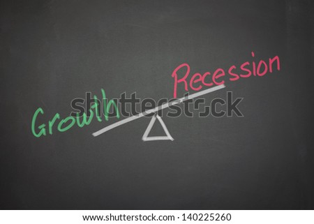 A drawing depicting the balance of growth and recession on a blackboard.