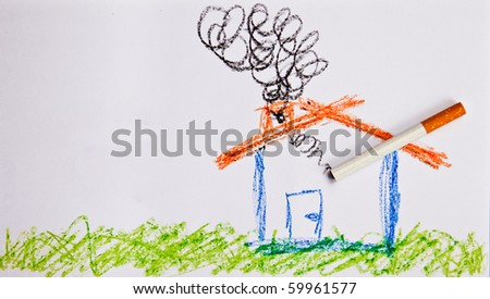 A drawing of a child trying to show an unhealthy home.
