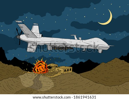 a drawing of a combat drone attacking a village in Afghanistan. a illustration of a lethal drone strike.  stock photo