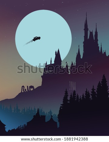A drawing of a fairytale castle at the top, surrounded by a forest, a large moon is shining in the sky and a flying car is soaring.
