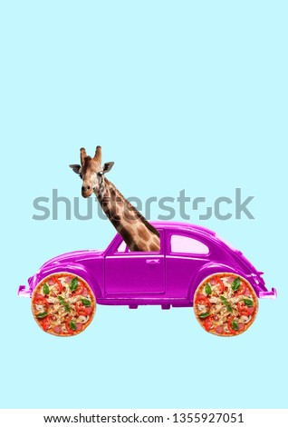 A dream about weekend. Retro pink car with wheels as a tasty pizza and giraffe's head inside. Let's have journey, enjoy your trip in holiday. Negative space. Modern design. Contemporary art collage.