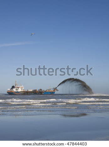 a dredger rain bowing side view - stock photo