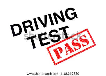 A Driving Test heading stamped with a red PASS rubber stamp.