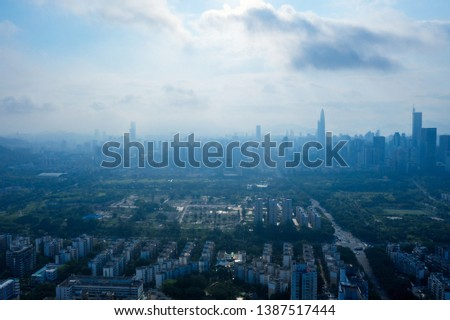 A drone aerial view of the shenzhen city #1387517444