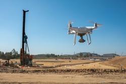 A drone survey at construction site