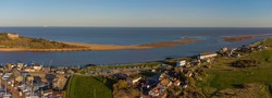 A drone view of the estuary of the River Deben at Felixstowe Ferry in Suffolk, UK