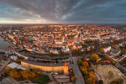 A drone view of the historic city with the market square, churches and town hall in Opole during the Autumn in Silesia, Opole, Poland.