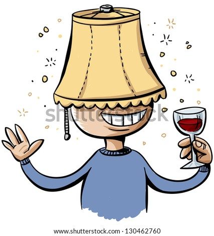 A drunk cartoon man wears a lampshade on his head.