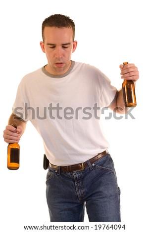 A drunk man stumbling while walking