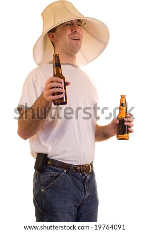 Lamp Shade On Head : A drunk man wearing lamp shade on his head stock photo