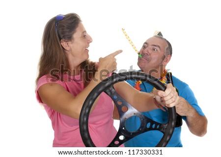 a drunken man, scolding a conductive