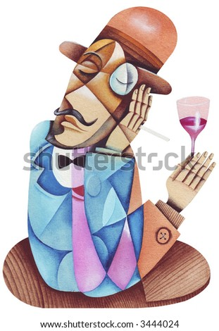 A drunken man with a bottle glass of red wine. Illustration by Eugene Ivanov. - stock photo