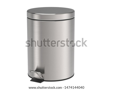 A dustbin of stainless steel with brushed threads
