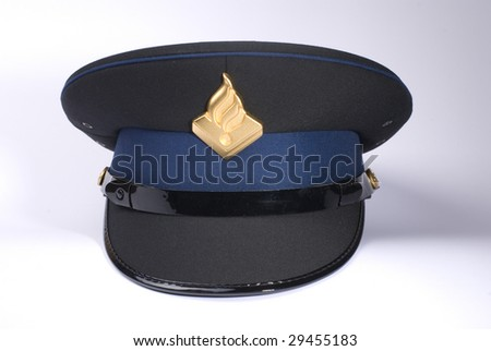 a Dutch police hat, against a white background