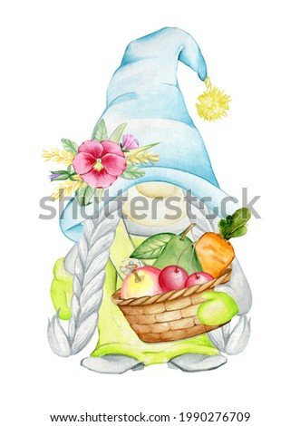 a dwarf holding a wicker basket filled with fruit. Watercolor concept on an isolated background