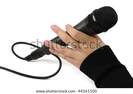 A dynamic black mic with a cable isolated on white background