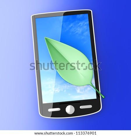 A ecological Smartphone. 3D rendered illustration.