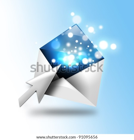 A email letter is opening up with a computer cursor. There are blue sparkles coming out of the envelope. Use it for a communication idea.