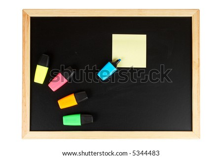 A empty black chalkboard with coloured labellers and yellow note. Path included