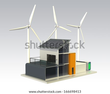 A energy efficient house support by solar panels, home wind turbines, and battery system. 3D rendering with clipping path.