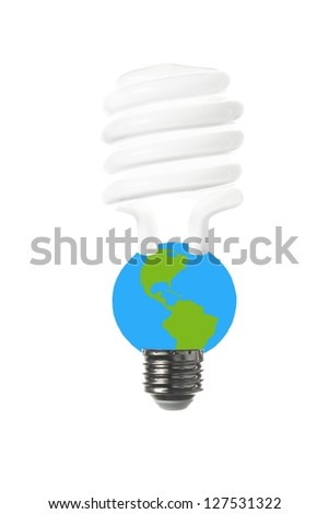 A energy saving fluorescent light bulb to express the vulnerability of the earth and the limitations of energy sources