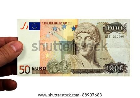 A 50 euro bill, and a 1000 drachmen bill combined.