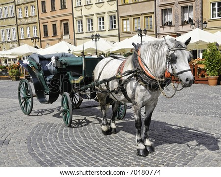 A European horse and buggy ready for tourists