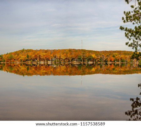 A fab panorama - reflections of a long line of trees Displaying a brilliant fall colours,  in a lake. This awesome mirror image of amazing fall colours looks extraordinary. A Mesmerising image indeed.
