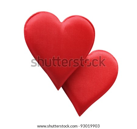 A Fabric Red Hearts Isolated On White Background