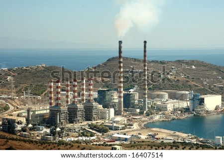 A factory plant by the sea in Keratea (Greece)