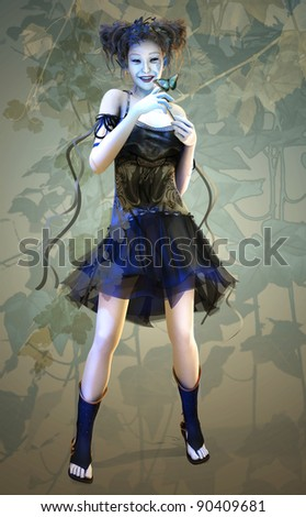 a fairy-like girl with a butterfly upon her finger - stock photo