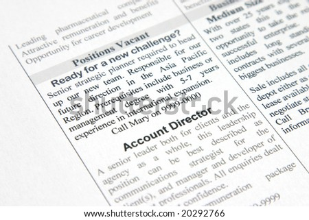 A fake positions vacant advertisement for strategic planner and account director - stock photo