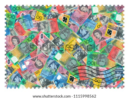 A fake postage stamp shows image of Australian dollars abstract background. #1115998562