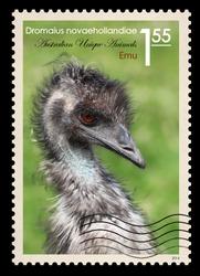 A fake postage stamp shows image of Emu, Fake series Australian Unique Animals.
