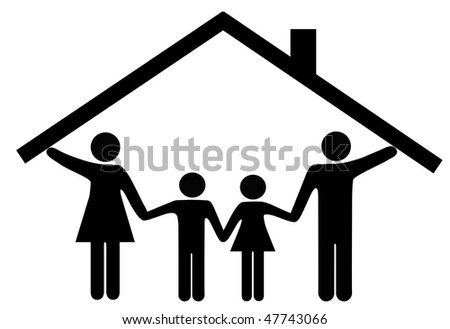 A family at home under one roof as mom and dad hold up the roof over the kids.