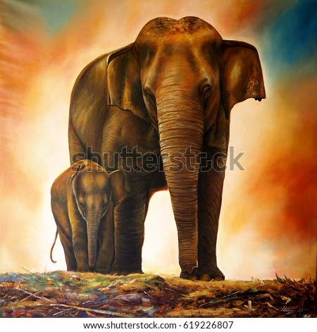 a family elephant painting on canvas