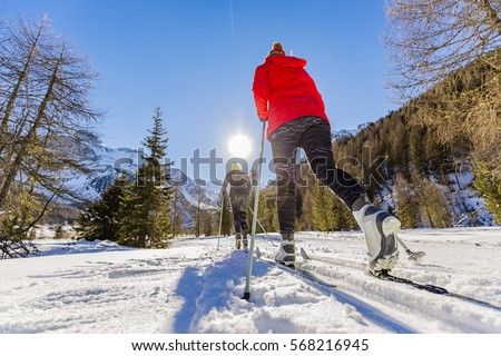 A family group of cross country skiers on a sunny winter morning in Italy Alps, South Tirol, Solda. #568216945