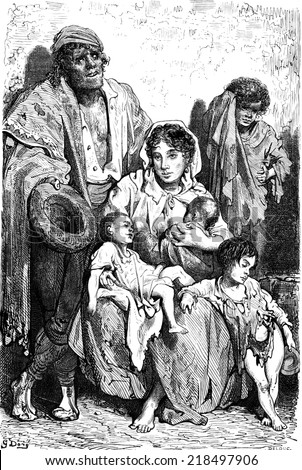 a family of beggars in jaen vintage engraved illustration le tour du monde travel journal. Black Bedroom Furniture Sets. Home Design Ideas