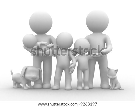 Stock Photo a family photo with cat and dog