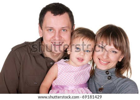 A family portrait of mom, dad and their daughter; isolated on the white background