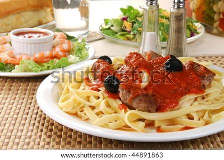 A fancy Italian spaghetti dinner