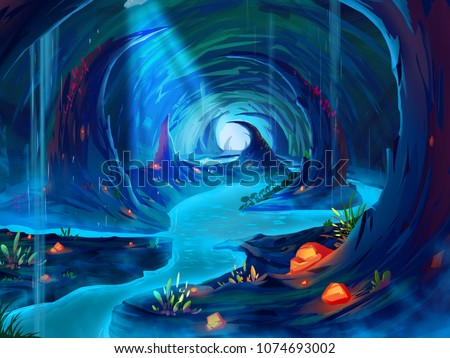 A Fantastic Cavern, Realistic and Futuristic Style. Digital CG Artwork, Concept Illustration, Realistic Cartoon Style Scene Design