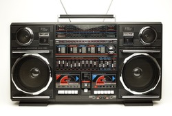 a fantastic looking oversized black retro ghetto blaster radio