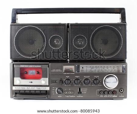a fantastic looking retro ghetto blaster - stock photo