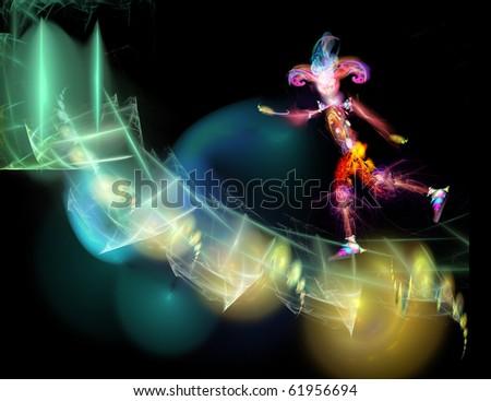 A fantastic, shining jester hurries. Digital illustration