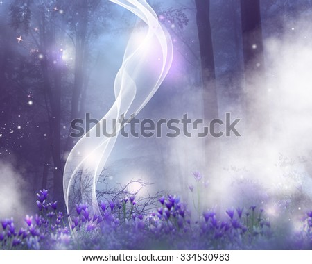 A fantasy background with purple flowers and magic effects.