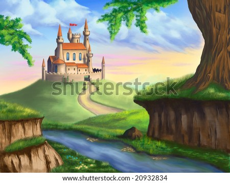 A fantasy castle in a gorgeous landscape. Original digital illustration.
