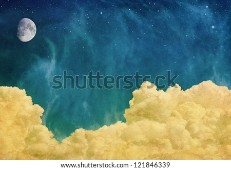 A fantasy cloudscape with a moon and stars overlaid with a vintage, textured paper background.  Image displays a pleasing paper grain at 100%.